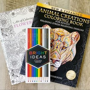 Other - Adult Coloring Books + Set of 10 Colored Pencils
